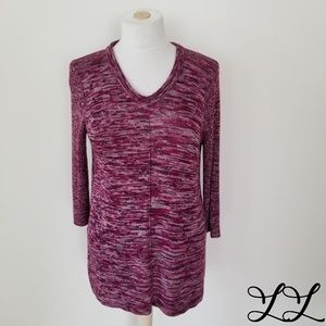 Cable & Gauge Sweater Pullover Purple White Long